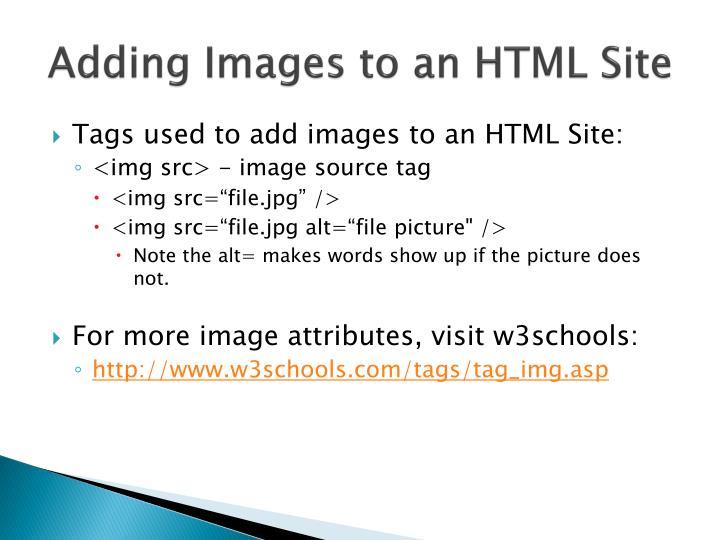Adding Images to an HTML Site