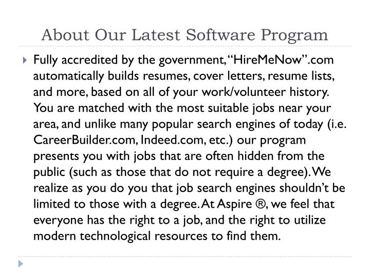 About Our Latest Software Program