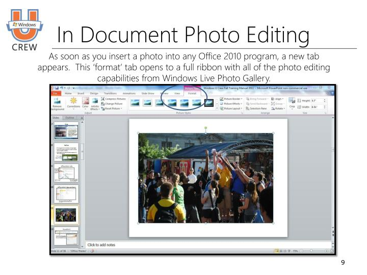 In Document Photo Editing