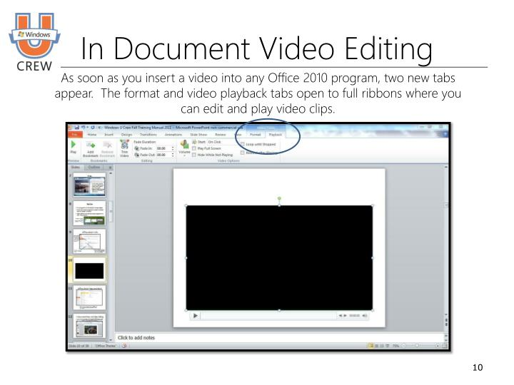 In Document Video Editing