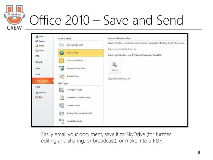 Office 2010 – Save and Send