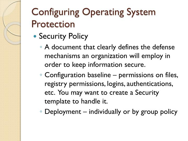 Configuring Operating System Protection