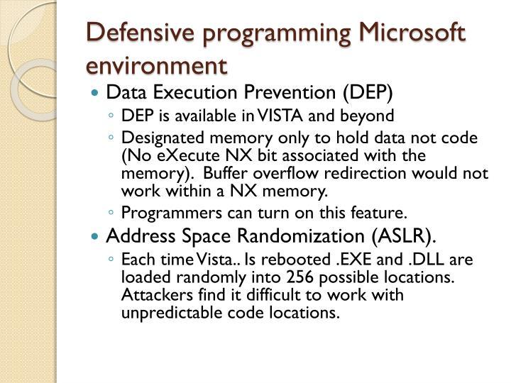 Defensive programming Microsoft environment