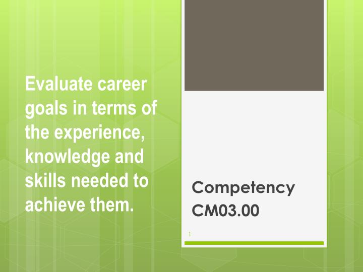 Evaluate career goals in terms of the experience knowledge and skills needed to achieve them