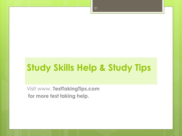 Study Skills Help & Study Tips