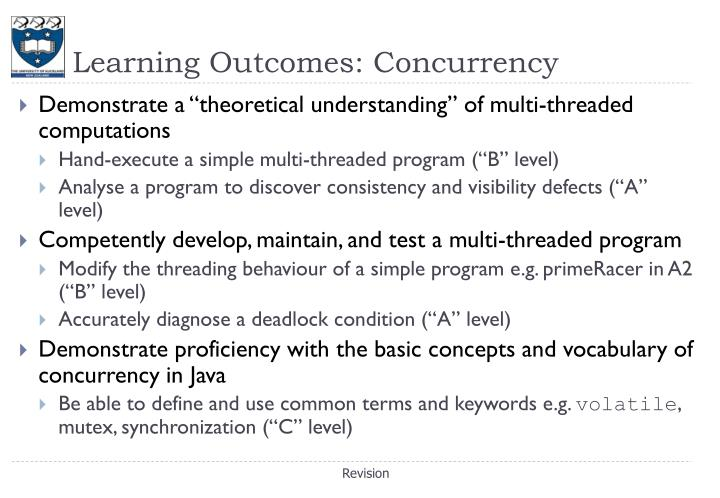 Learning Outcomes: Concurrency