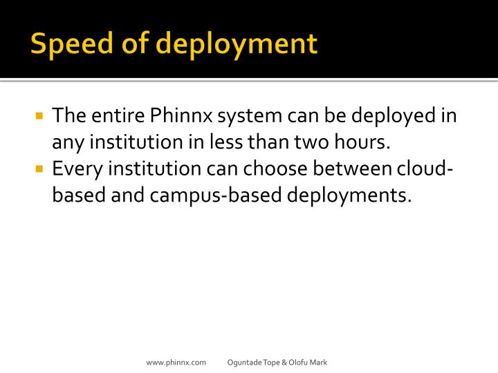 Speed of deployment