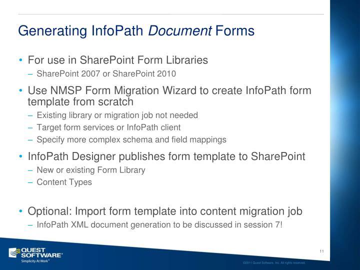 Generating InfoPath