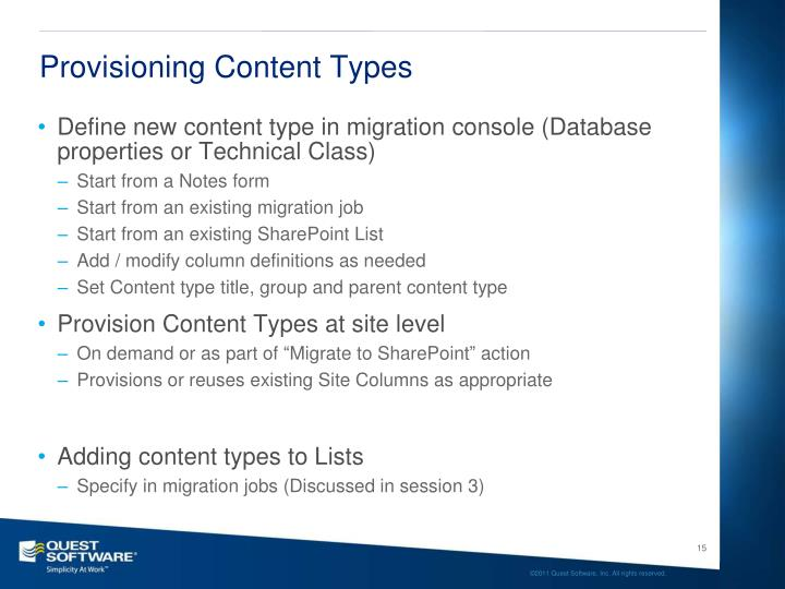 Provisioning Content Types