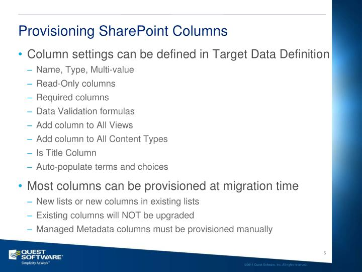 Provisioning SharePoint Columns