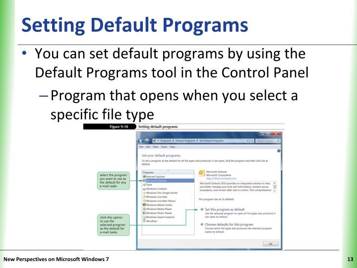 Setting Default Programs