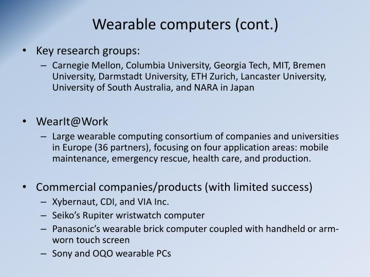 Wearable computers (cont.)
