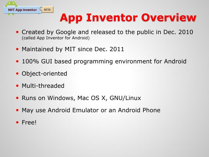App Inventor Overview