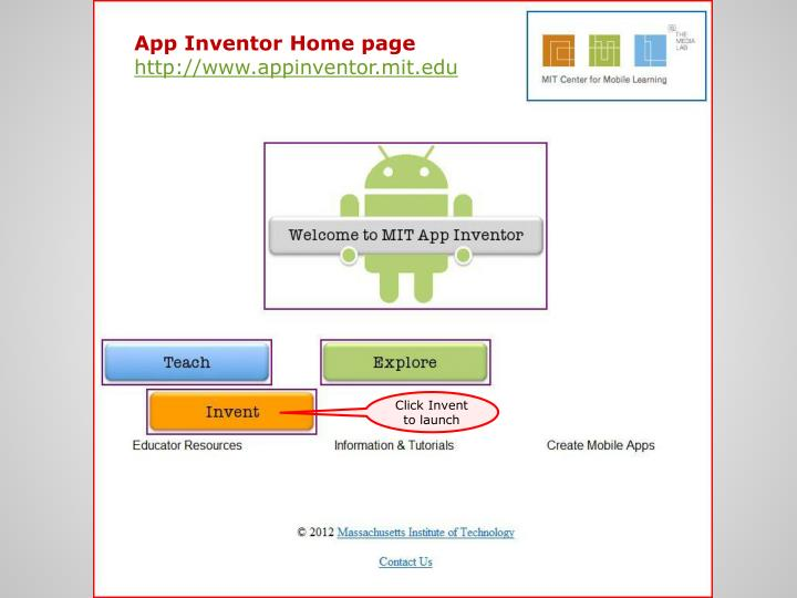 App Inventor Home page