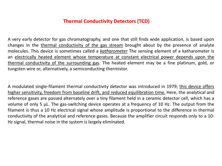 Thermal Conductivity Detectors (TCD)