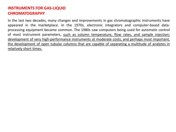 INSTRUMENTS FOR GAS-LIQUID