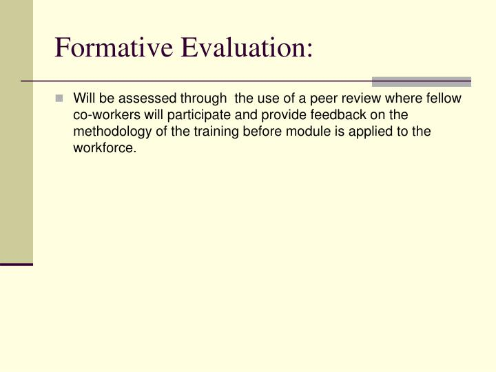 Formative Evaluation: