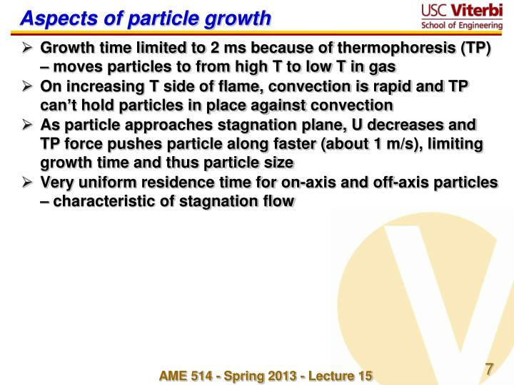 Aspects of particle growth