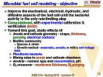 microbial fuel cell modeling objective