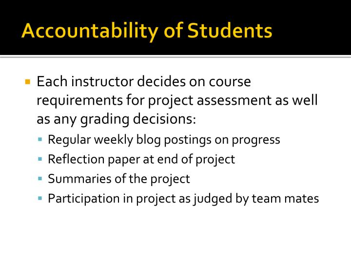 Accountability of Students