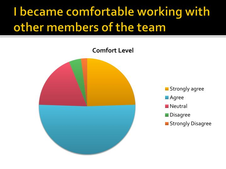 I became comfortable working with other members of the team