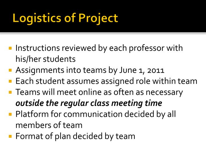 Logistics of Project