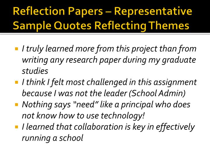 Reflection Papers – Representative Sample Quotes Reflecting Themes