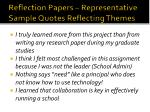 reflection papers representative sample quotes reflecting themes