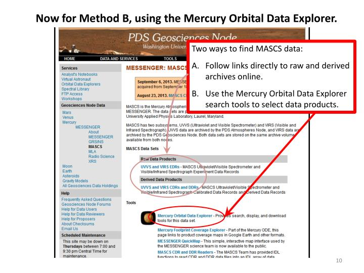 Now for Method B, using the Mercury Orbital Data Explorer.