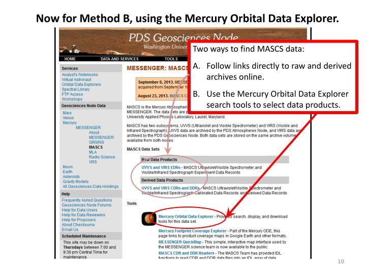 Now for Method B, using the Mercury Orbital Data Explorer.