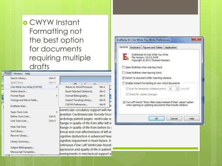 CWYW Instant Formatting not the best option for documents requiring multiple drafts