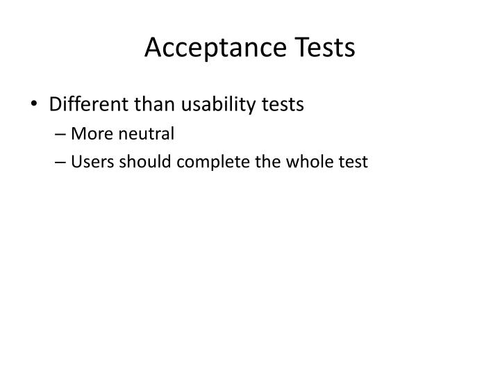 Acceptance Tests