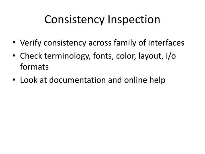Consistency Inspection