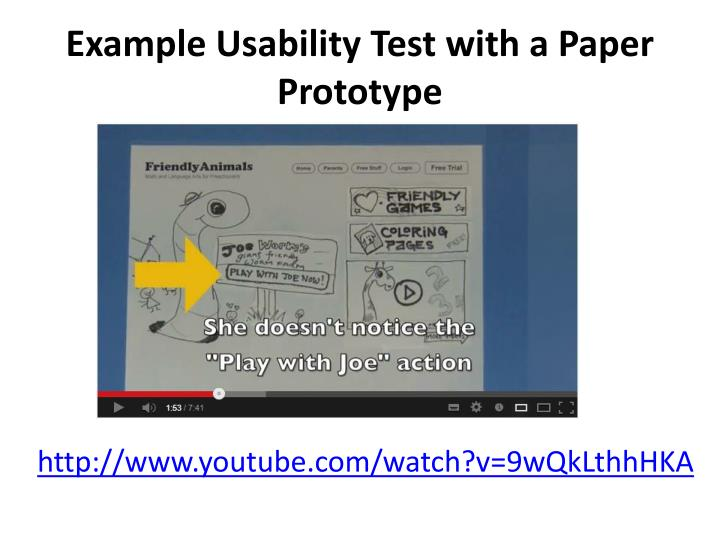 Example Usability Test with a Paper