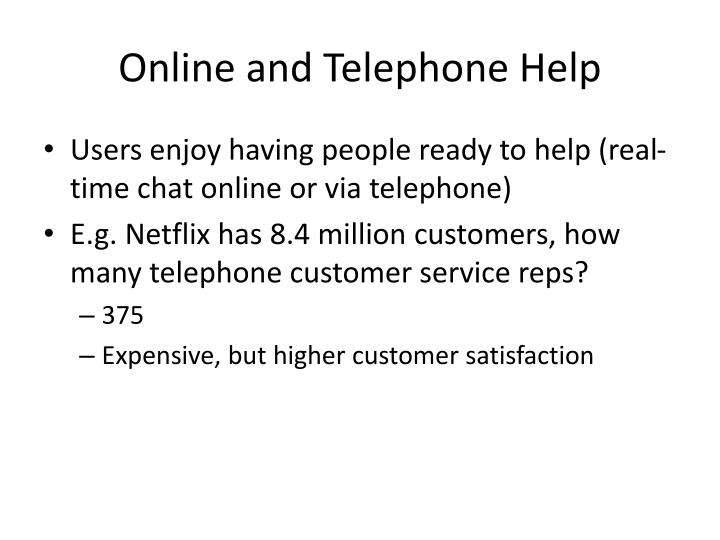 Online and Telephone Help