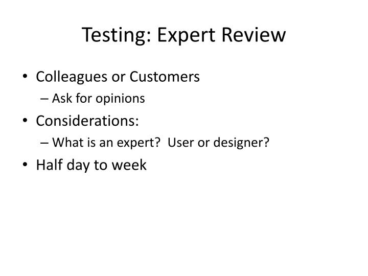 Testing expert review