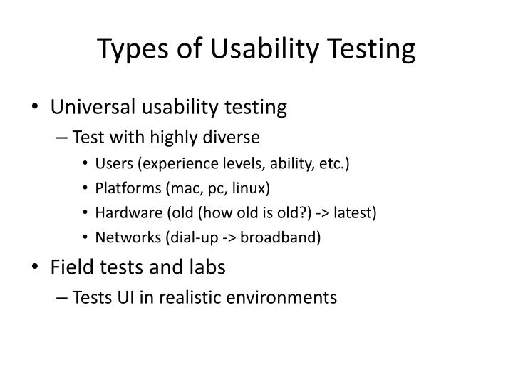 Types of Usability Testing