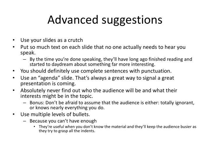Advanced suggestions