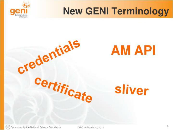 New GENI Terminology