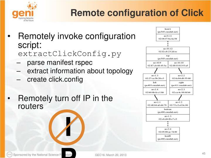 Remote configuration of Click