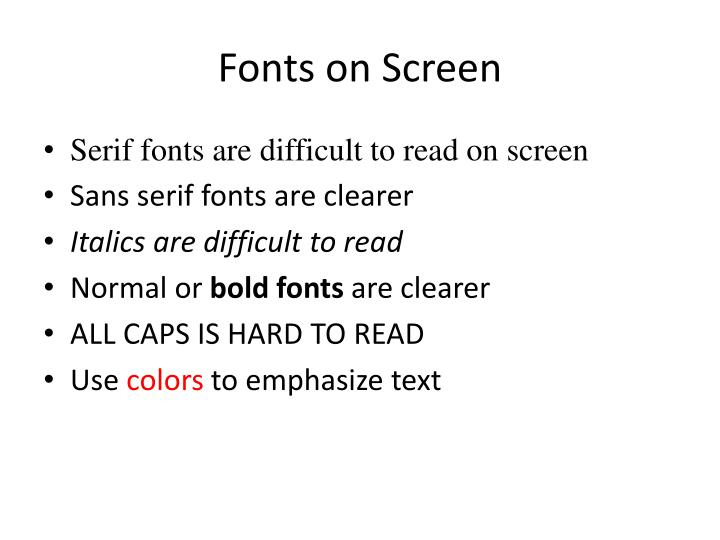 Fonts on Screen