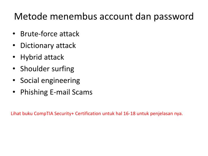 Metode menembus account dan password