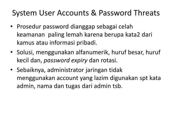 System User Accounts