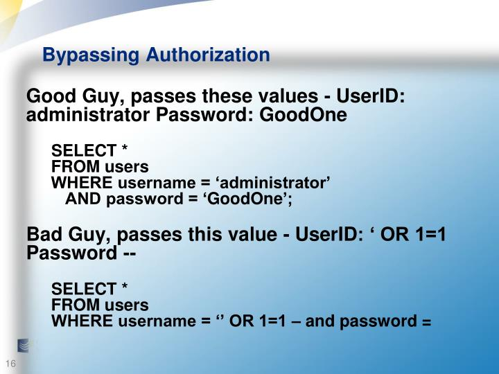 Bypassing Authorization