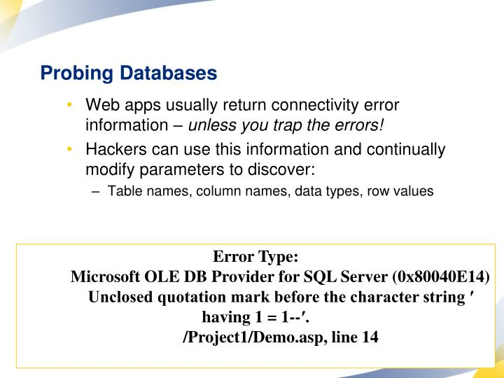 Probing Databases