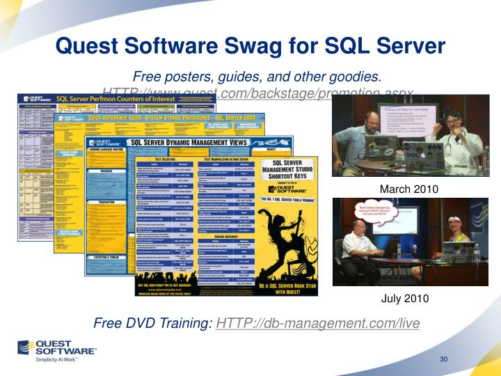 Quest Software Swag for SQL Server