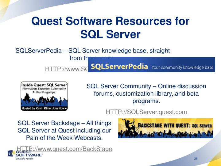 Quest Software Resources for SQL Server