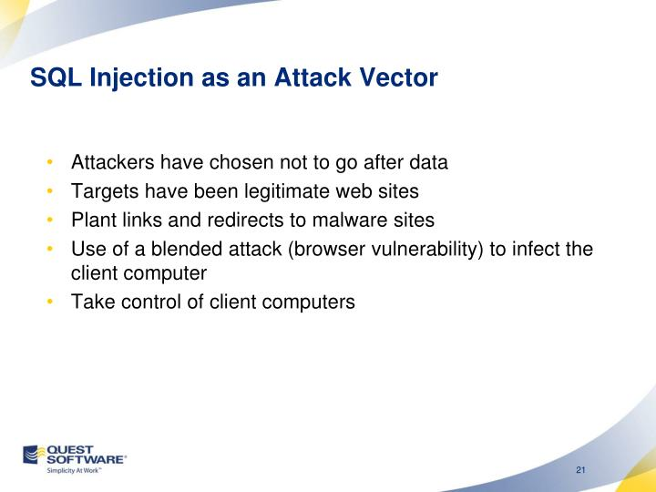 SQL Injection as an Attack Vector