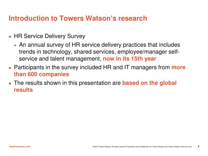 Introduction to Towers Watson's research