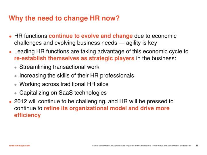 Why the need to change HR now?